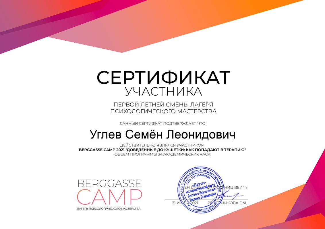 Сертификат участника - летний психологический лагерь